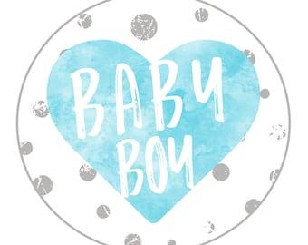 "2"" Round Sticker - Baby Shower - Blue Watercolor - Grey Dots - Boy Baby Shower"