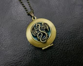 Dragon locket Necklace 1616M