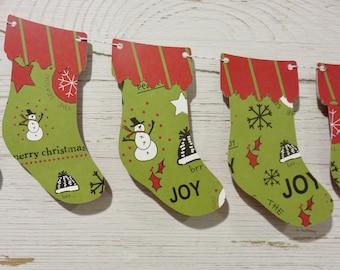 Christmas Stocking Bunting, Christmas stocking garland, Green and Red Christmas Decor, Snowman Christmas Decor, Merry Christmas Banner