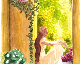 Daydream - Fine Art Print, 8x12 12x18, wall art, watercolor garden, castle ruin, Provence France art, romantic art print, female figure art