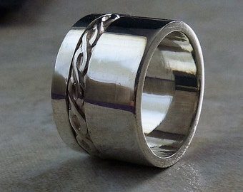 Chunky silver ring, Wide silver ring, Solid silver ring, Artisan silver ring, Unisex ring, Sterling silver 925