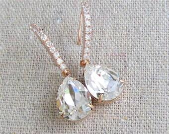 Swarovski Dangling Drop Earrings, Crystal Teardrop Earrings, Faux Diamond Bridal Earrings, Cubic Zirconia Rose Gold Earrings, Bridal Earring