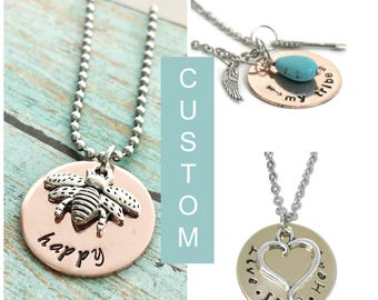 Personalized - Custom - Necklace - Hand Stamped Jewelry - One Disk