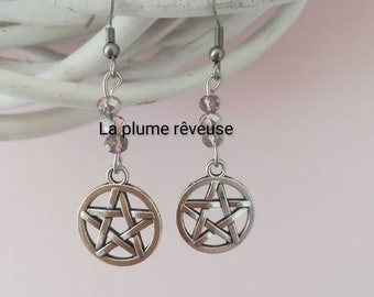 Earrings Pink Silver pentacle with pearls. Pagan. Witchy. Witchcraft.