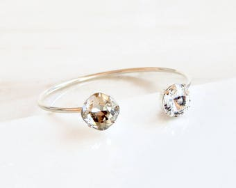 Clear crystal silver open cuff bracelet - silver open bangle bracelet - Swarovski crystal - silver crystal - clear crystal bracelet