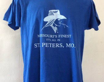 Vtg 80s Missouri's Finest T-Shirt Blue L Screen Stars 50/50 Cowgirl