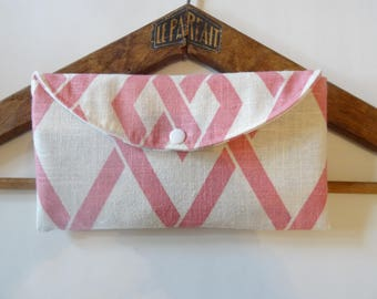 Pink Argyle, geometric bag pouch