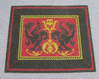 Double Dragons - Handpainted Needlepoint Canvas