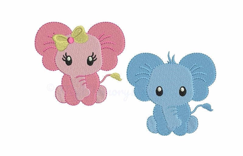 Elephant Machine Embroidery Design - Baby Embroidery Set -4821