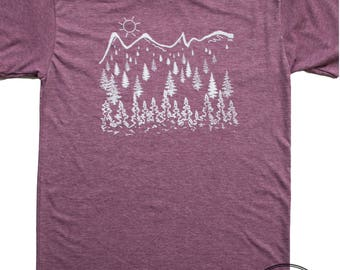 Men's Mountain shirt, screen printed on american apparel threads. outdoorsy design by a human in Idaho. free ship in the USA, love life.