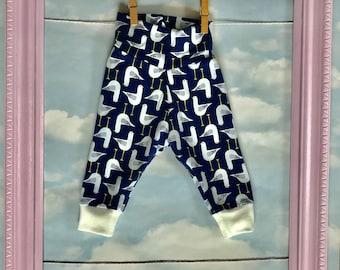 Handmade Organic Seagull Baby Trousers