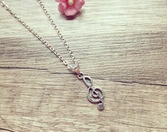 Short chain clef silver, stainless steel, clef, vintage, blogger, statement