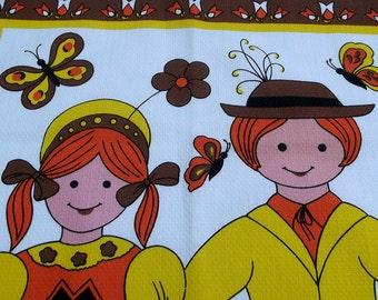 Vintage Kitsch Tea Towel -two children in costume - 70s orange, yellow and brown Tea Towel