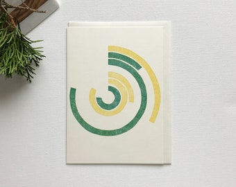 Polar Calendar Handmade Greeting Card - Letterpress Printed - Yellow & Green - Any Occassion
