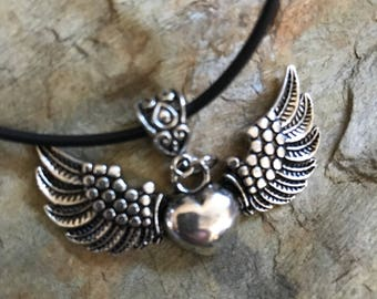 Heart with wings charm  necklace