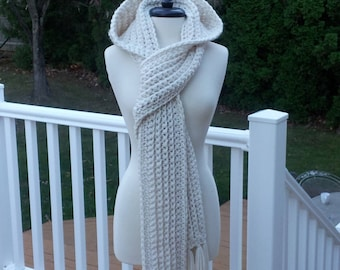 """Ultra Plush Nordic Hooded Scarf, this one in color """"Nordic White"""" is ready to ship."""