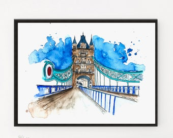 London Print, London bridge, London decor, Cityscape painting, Watercolor Print, Travel art, Art Print, Travel poster, City art, London gift