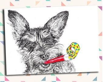 Cute funny Shnocker schnauzer dog greeting card- Birthday Congratulations Celebration- Print of Original Drawing A6 with Envelope
