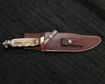 Bowie Hunting Knife Randall 12-8 Leather Sheath Custom Made Stag Handle Siver Pommel Blade Art by Renwa