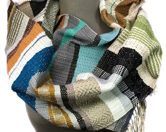 Mina | Handwoven Colorful Hazelnut Striped Scarf | Unisex Woven Textile | Valentine's Gift for Him | Wool & Cotton Modern Woven Scarf | H77