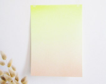 Airbrushed Gradient neon yellow print A4