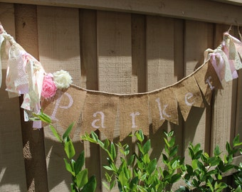 Pink shabby chic personalized name burlap banner