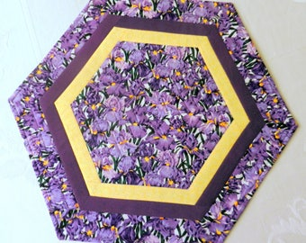 Quilted, Reversible Candle Mat, Table Topper, Centerpiece, Octagon, Purple Iris and Field of Purple Flowers, Handmade Table Linens