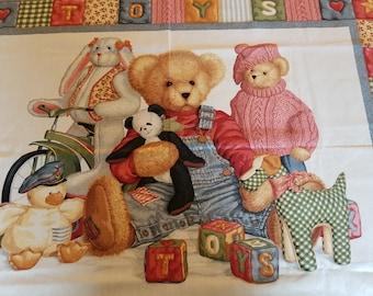 Baby Quilt Panel, Blue Jean Bear