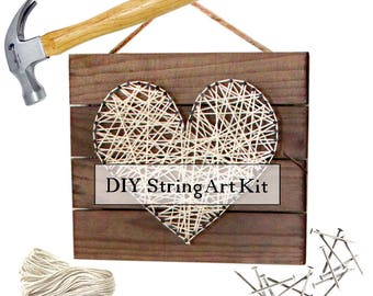 DIY Heart String Art Pallet Sign Home Decor Kit
