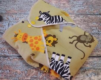 Organic Cotton Winged Prefold Cloth Diaper On Safari Sized