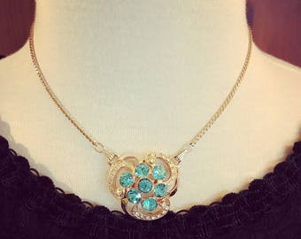 1950s Art Nouveau Style Convertible Aqua and Clear Rhinestone Gold Tone Necklace and Brooch