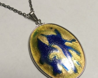 Necklace Pendant Modern Abstract Art Enamel Reversible Colorful StatementPiece