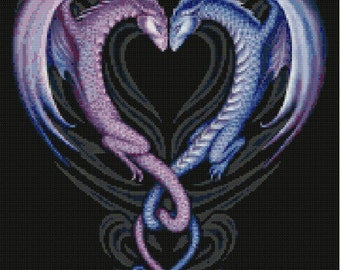 Dragon Heart Cross Stitch Pattern-Fantasy, Dragon, Creature, Mythical, Mystical