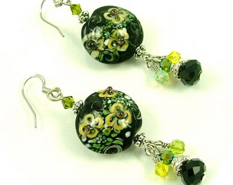MAJOR MARKDOWN - Dramatic Yellow Garden Flower Torch Bead and Crystal Dangle Statement Earrings
