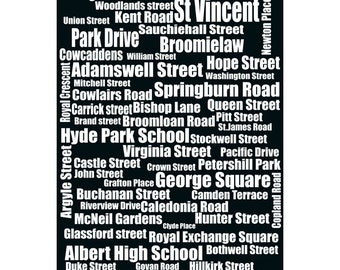 Typography of Glasgow Street Names, Glasgow city, Scotland,UK, vintage collection, decor,wall art print