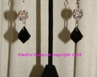 Silver, Black, Earrings, Drop Earrings, Dangle Earrings, Filigree Earrings.