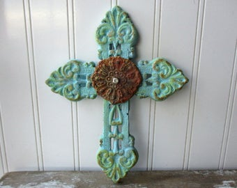 Rustic cast iron cross filigree faux verdigris rusty rhinestone wall hanging 8 inch metal cross aqua turquoise Christian farmhouse decor LA3