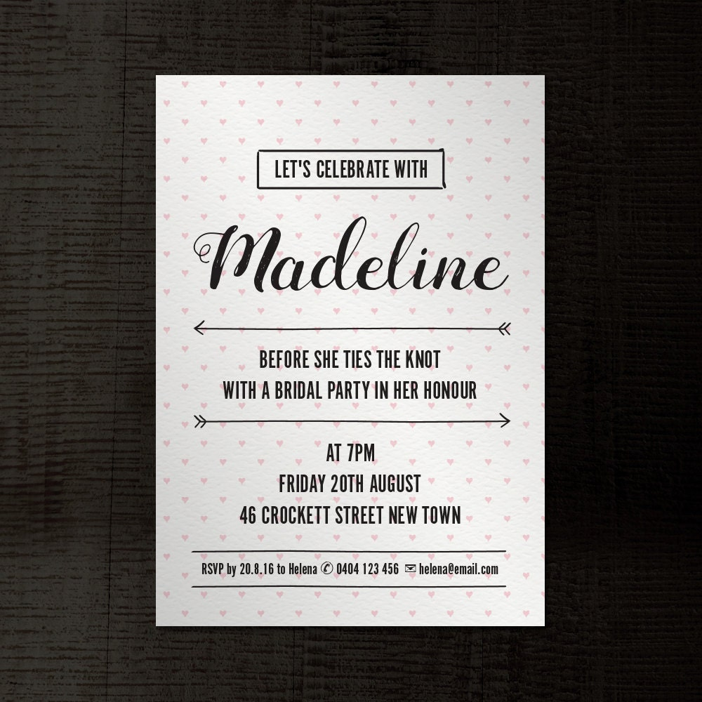 Hand Drawn Hearts Invitation A5 InDesign template for birthday