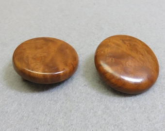 Wood Clip On Earrings, Button Style Clip Earrings, Vintage Clip Ons