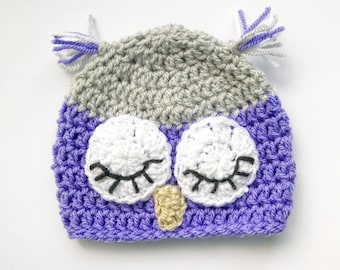 Sleepy Owl Hat made to order; Baby and Child Crochet Beanie Hat owl face; Unisex Crochet Hat