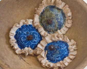 Prim Blue Flower Bowl fillers with Rusty Safety pins & bells- Set of 3