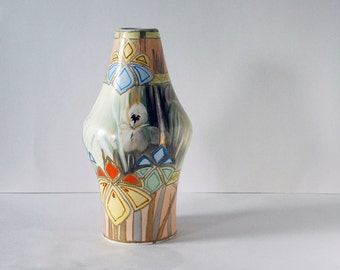 Antique Nippon Vase, Art Deco Pottery, Gold Moriage Hand Painted Pottery, Royal Nishiki Vase, Iris Flowers, Art Pottery, Geometric Design
