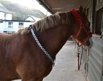 BLACK and SILVER Check Hi Viz Reflective Fluorescent Neck Strap Horse Equestrian NECKSTRAP