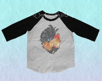Rooster shirt Toddler tshirt /raglan shirt kids clothing for 12M/2T/ 4T/ 6-10 years