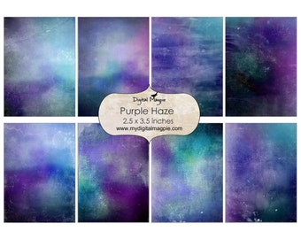 digital background paper atc textured shabby scrapbook 2.5 x 3.5 printable collage sheet purple aqua green instant download