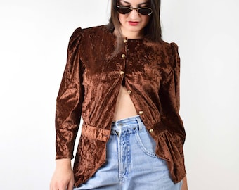 Vintage brown velvet blouse, 80s blouse, puff sleeve blouse, medium size, cuff sleeve blouse, 90s womens clothing