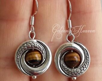 Tigers eye Earrings Silver brown earrings for women round brown Tibetan Silver 925 Sterling Silver Hook Gemstone Earrings cute Jewelry