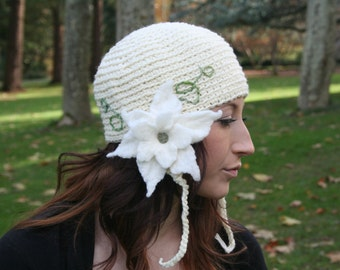 Secret Garden Felted Flower Hat- White, Cream, Natural- All Wool Statement Hat