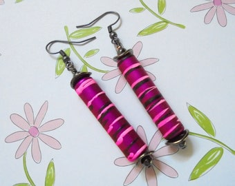 Magenta and Black Striped Earrings (3717)