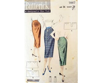 """UNUSED Vintage 50's Butterick #7867 Classic Goodwood Revival Pencil Skirt Sewing Pattern ' Quick 'N Easy 1 Yd. Skirt' Size Waist 26"""" UK 12"""